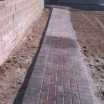 Completed Retaining Wall and Herringbone Paver Walk